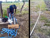 Le système qui produit de l'eau potable à l'école et la construction du système d'irrigation agricole.