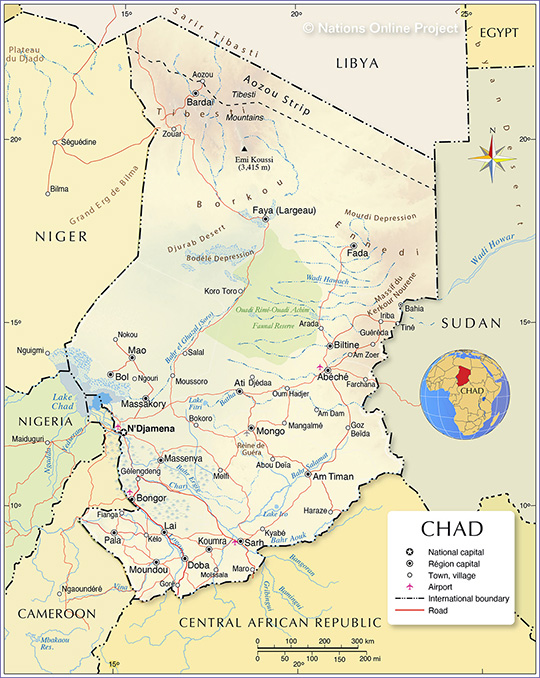 Chad Political Map - by nationsonline.org